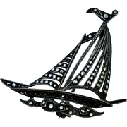 Maritime Silver & Marcasite Sailboat Brooch Boat Pin