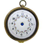 Antique Gilt Bronze and Porcelain Clock Faced Compact/Powder Puff Pocket Watch