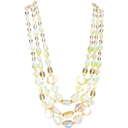 1960's West Germany 3 Strand Yellow Glass Bead Necklace.