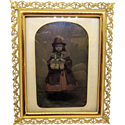 1863 Hand Colored Tintype Photo of Lenity Lenora Landon with Fur Muff in Gold Frame, Young Girl From Georgetown, D.C.