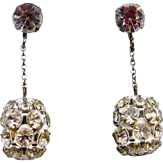 1950's Rhinestone Dangle Earrings, Clip-ons