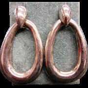 Vintage Mexican Sterling Silver Drop Oval Hoop Pierced Earrings
