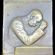 "Antique WW1 era German Bronze Plaque ""God Will Help Take Us to Victory"" Scolick, Weinberger. Man Praying"