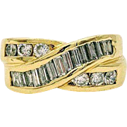 14kt Yellow Gold 1.75 CTW Diamond Cross Over Right Hand Ring