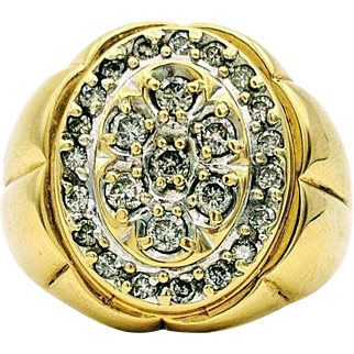 Vintage Men's Cluster Yellow Gold Ring