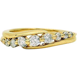 Vintage .50 ctw 14kt Yellow Gold Diamond Channel Band