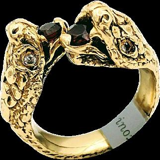 Vintage Yellow Gold Double Headed Diamond & Garnet Snake Ring