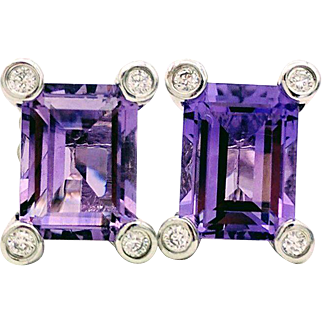 Vintage 14kt White Gold Amethyst Stud Earrings With Diamond Accents