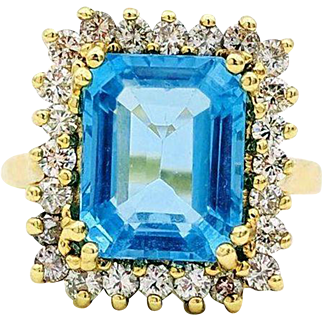 Vintage 14kt Yellow Gold 4.5 CT Topaz, Diamond Accent Ring