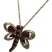 Genuine Ruby Dragonfly Necklace Pendant 10k Yellow Gold