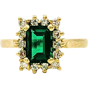 14kt Yellow Gold Synthetic Emerald,  Natural Diamond Halo Ring