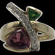 14k Pink Tourmaline & Green Tourmaline, Diamond Accent Ring