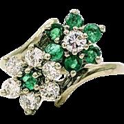 14k White Gold Emerald & Diamond Flower Ring