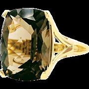 Vintage Smoky Quartz Yellow Gold Ring