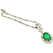 Vintage Natural 14k White Gold Emerald & Diamond Halo Necklace