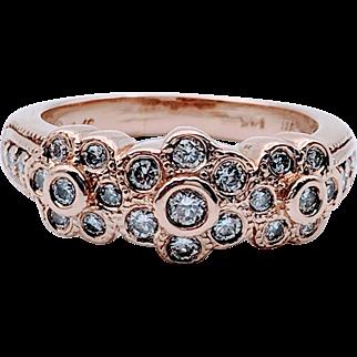 Vintage 14kt Rose Gold Floating Diamond Ring