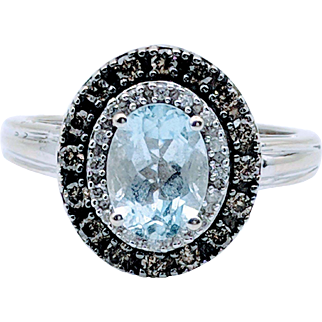 Vintage White Gold Aqua & Chocolate Diamond Ring