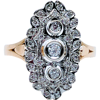 Vintage 18kt Two-Tone Diamond Cocktail Ring