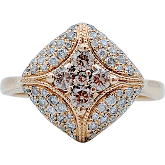 Vintage 10kt  Domed Pave Chocolate & White Diamond Ring