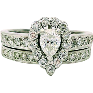 Vintage 14k White Gold Pear Shape Diamond Wedding Set 1.00 ctw