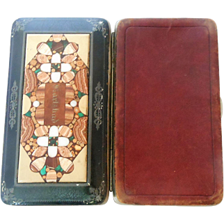 Cigar case with mosaic stone from Karlsbad