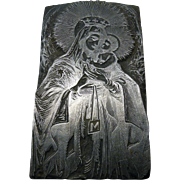 Printers stamp /santa maria & baby jesus / wood & metal