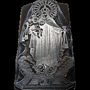Printers stamp /santa maria & baby jesus with angels / wood & metal