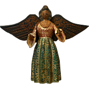 Folk art object / angel wood carved polychrome