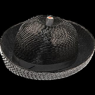 Vintage 1960s Breton Hat by Leslie James, Black Straw, Hat Size 21.5