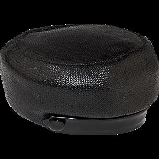 Vintage 60s Mod Black Straw Hat by Leslie James, Hat Size 21.5