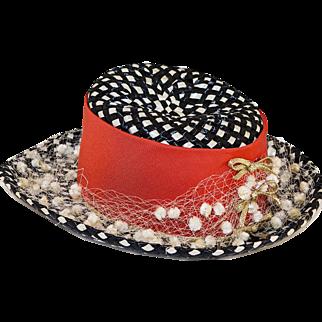 Vintage 1960s Leslie James Black & White Wide Brim Hat, Straw Netting & Dingle Balls