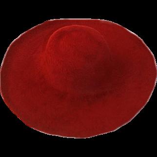 Burgundy Hand-Felted Wide Brim Hat, Hat Size 22