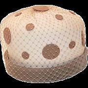 1960s Mod Polka Dot Vintage Hat in Tan & Cream, Hat Size 20.5