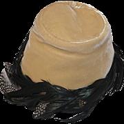 1950s John Frederics Hat,  Gold Velvet, Black Hackle Feathers, Hat Size 20