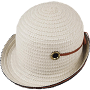 G. Howard Hodge Hat, 1960s Mod In White Straw, Hat Size 21