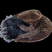 Antique Merry Widow Hat, Brown Velvet, Beading & Black Feathers