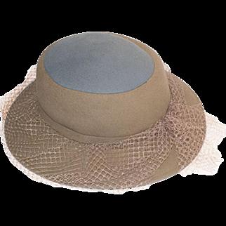 Vintage Frank Olive Wide Brim Hat, Camel & Gray Wool Netting, Hat Size 21