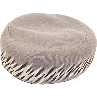 1950s Claude Saint Cyr Pillbox Hat, Pinton-Aubusson Gray Tapestry, Hat Size 22