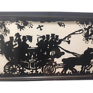 Vintage Reverse Painted Black Silhouette Picture; Beautifully Detailed