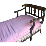 Exceptional Quality Venetian Hand Painted Bed or Settee; Recently Reupholstered with Custom Mattress
