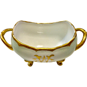 Pale Green Gold Encrusted Limoges Footed Sugar Bowl
