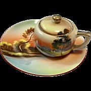 Noritake Sunset Scene Sugar Bowl and Plate
