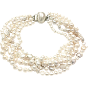 Big Bold Multi-Strand Freshwater Cultured Pearls Choker Necklace Large 8mm to 15mm Baroque and Off-Round Shapes Like South Sea Pearls in White