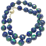 "Gorgeous Azurite 16"" Necklace in Faceted Round Shape with Royal Blue Lapis and Green Malachite Sterling Silver Clasps and Accent Beads"