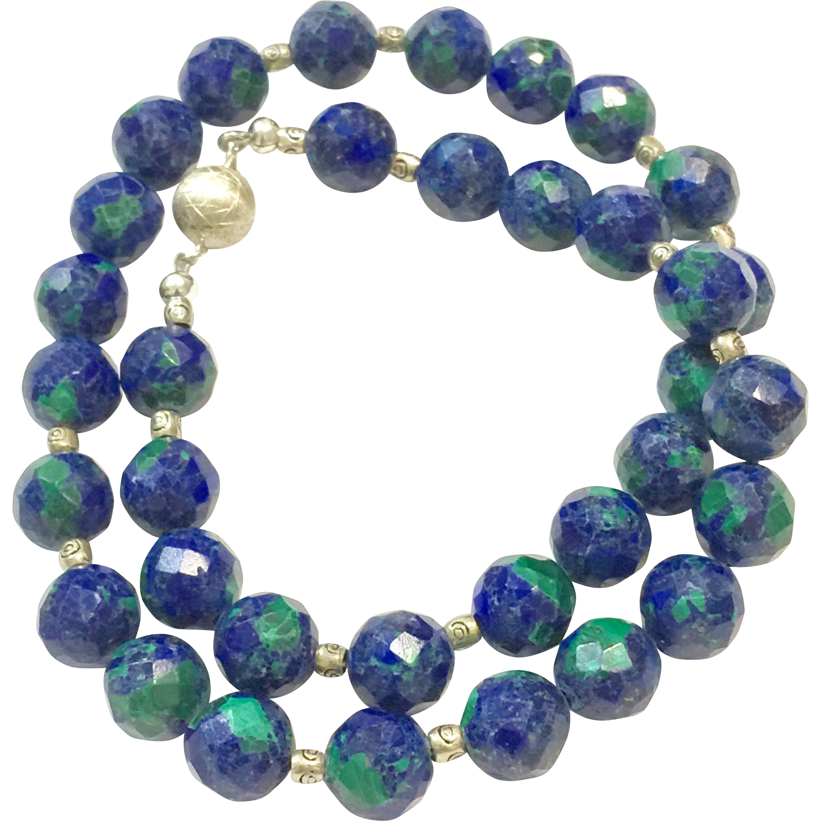 """Gorgeous Azurite 16"""" Necklace in Faceted Round Shape with Royal Blue Lapis and Green Malachite Sterling Silver Clasps and Accent Beads"""