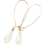 Long Drop Clear White Cracked Quartz Earring in Rose Gold Plate