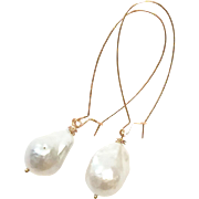 Long Dangling Earring with Large Freshwater Baroque 20mm Pearls Like South Sea Pearls on Rose Gold Plate Sheppard's Hook