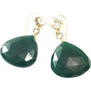 Gorgeous Green Onyx Earring in Heart Shape like Emerald Dangling on a Gold Plate Hook with CZ