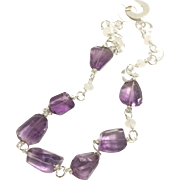 Exquisite Hand Wrapped Amethyst Necklace with Moonstones & Clear White Quartz Matte Sterling Silver CC Clasp