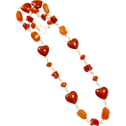 Pretty Gem Orange Carnelian And Natural Italian Red Coral Hand Coiled Handmade Chain Sterling Silver Toggle Clasp
